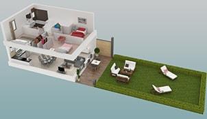 Plan 3D d'une maison neuve de la résidence des Jardins de Pira à Manosque (04)
