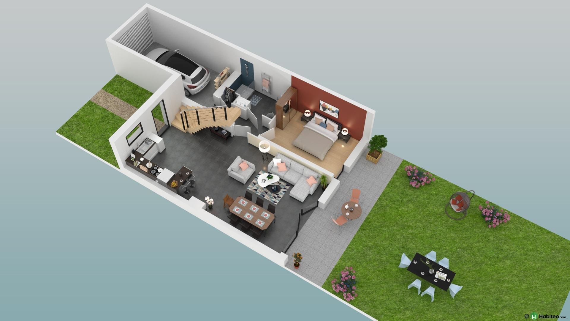 plan 3d dun rez de chausse dune maison duplex 5