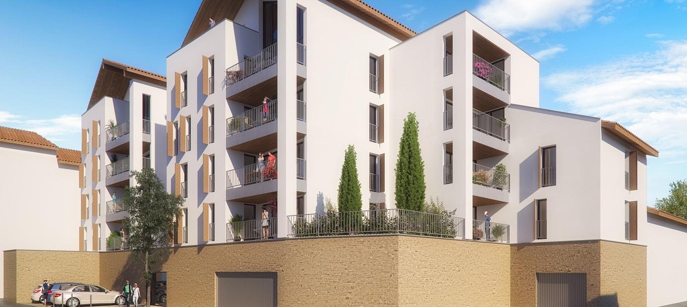 Perspective extérieure du programme Résidence Les Arceaux situé à Mont-de-Marsan