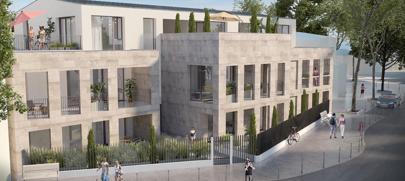 Perspective extérieure du programme L'Urbanist' situé à  Pessac