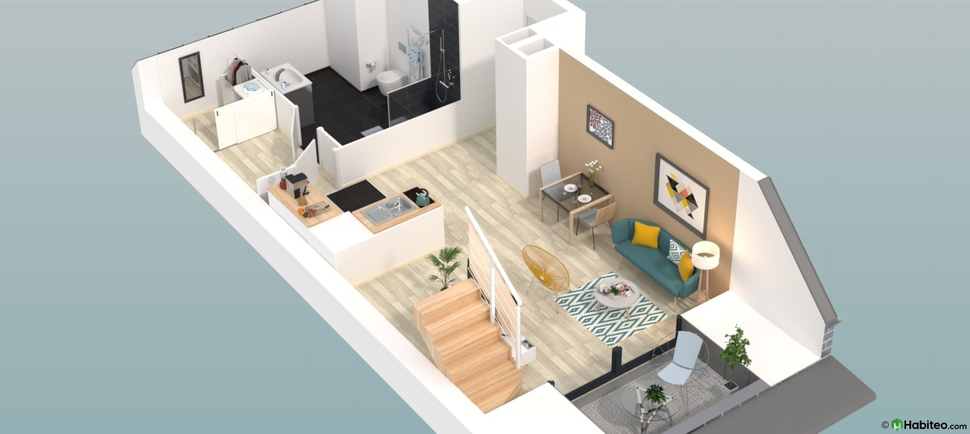 Plan 3d d'un appartement du programme 87 Nova