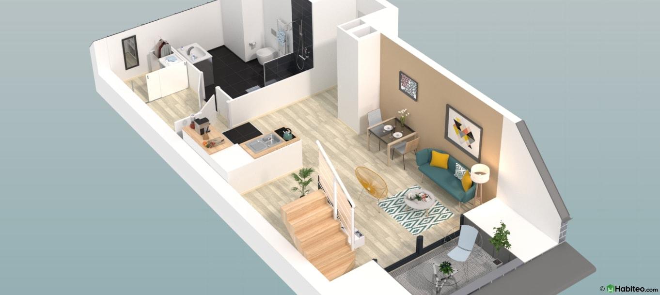 Plan 3d d'un appartement du programme 87 Nova