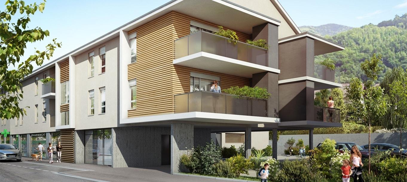 Perspective extérieure du programme Villa Aristide situé à  Villard-Bonnot
