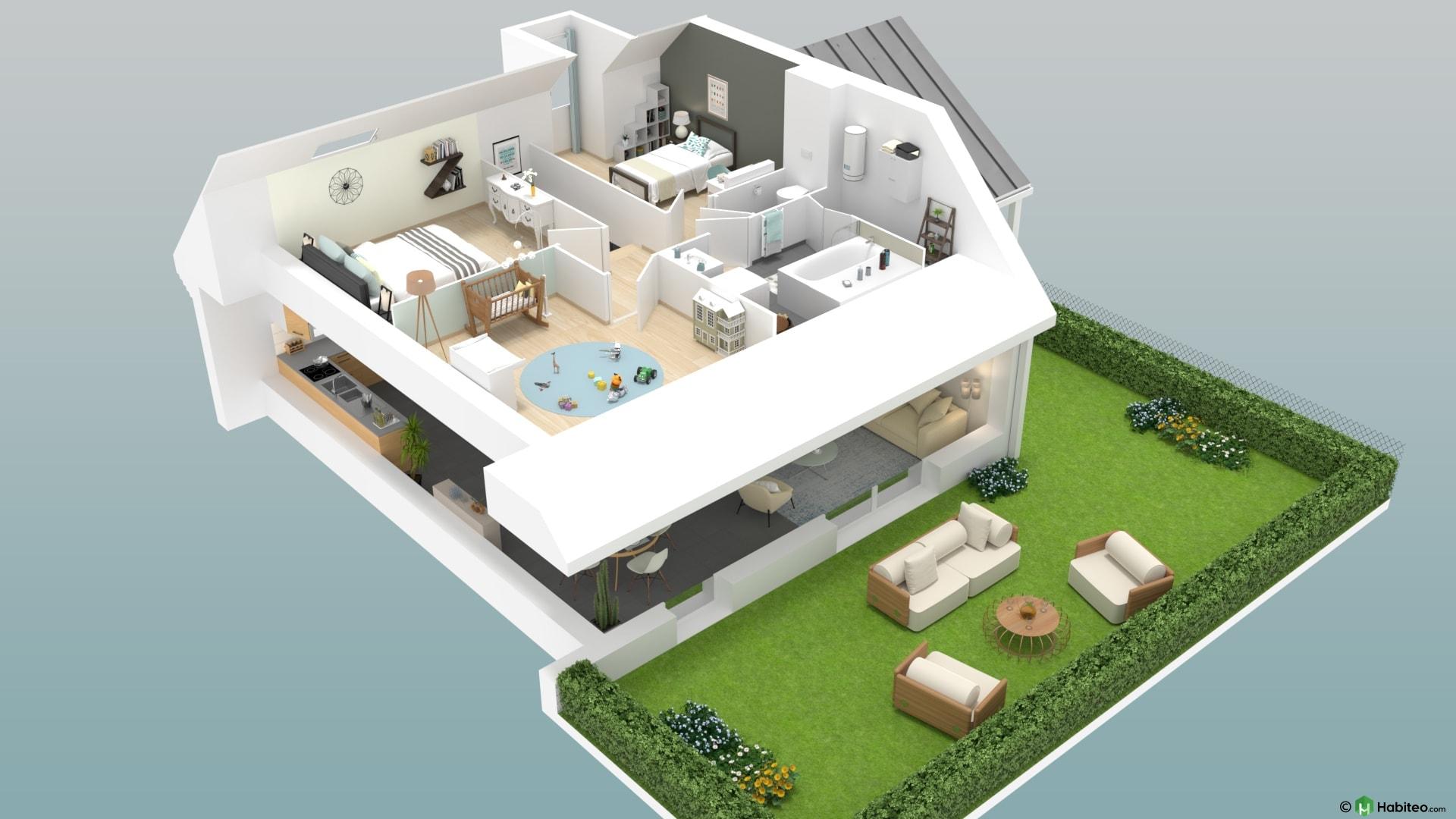 Plan 3d de létage une maison 4 pièces duplex du programme privilège