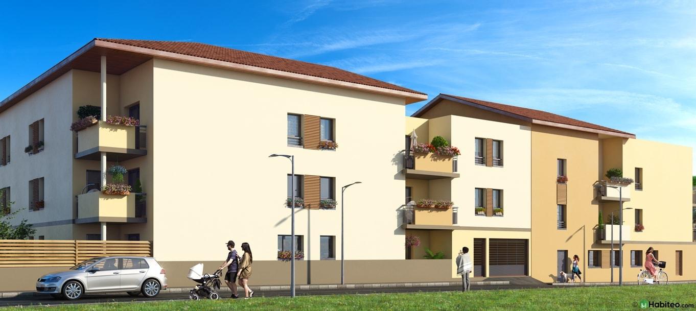 Perspective extérieure du programme Les Terrasses de Saulnier situé à Meyzieu
