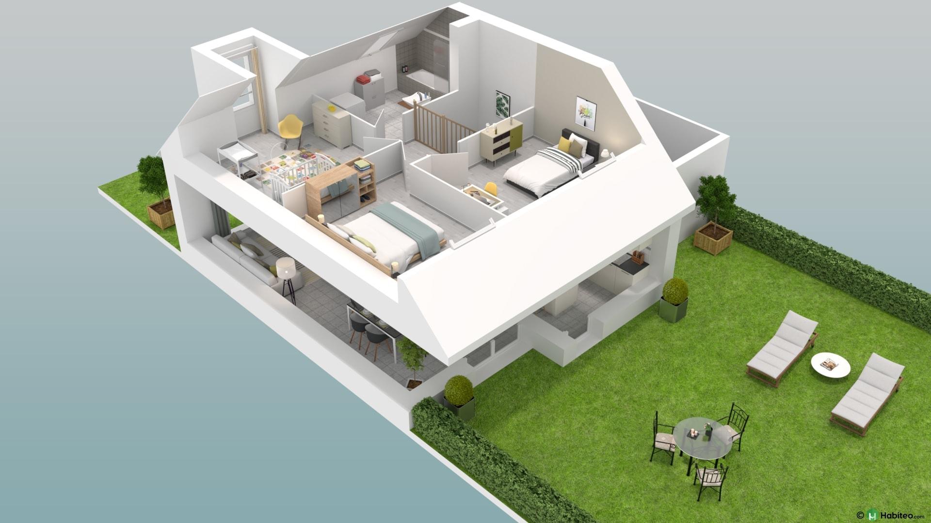 Plan 3d de létage dune maison 4 pièces duplex du programme résidence