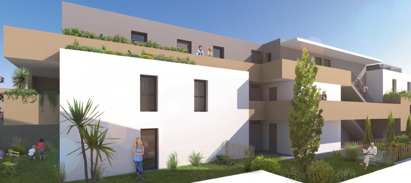 Perspective extérieure du programme Les Pins d'Azema situé à Montpellier