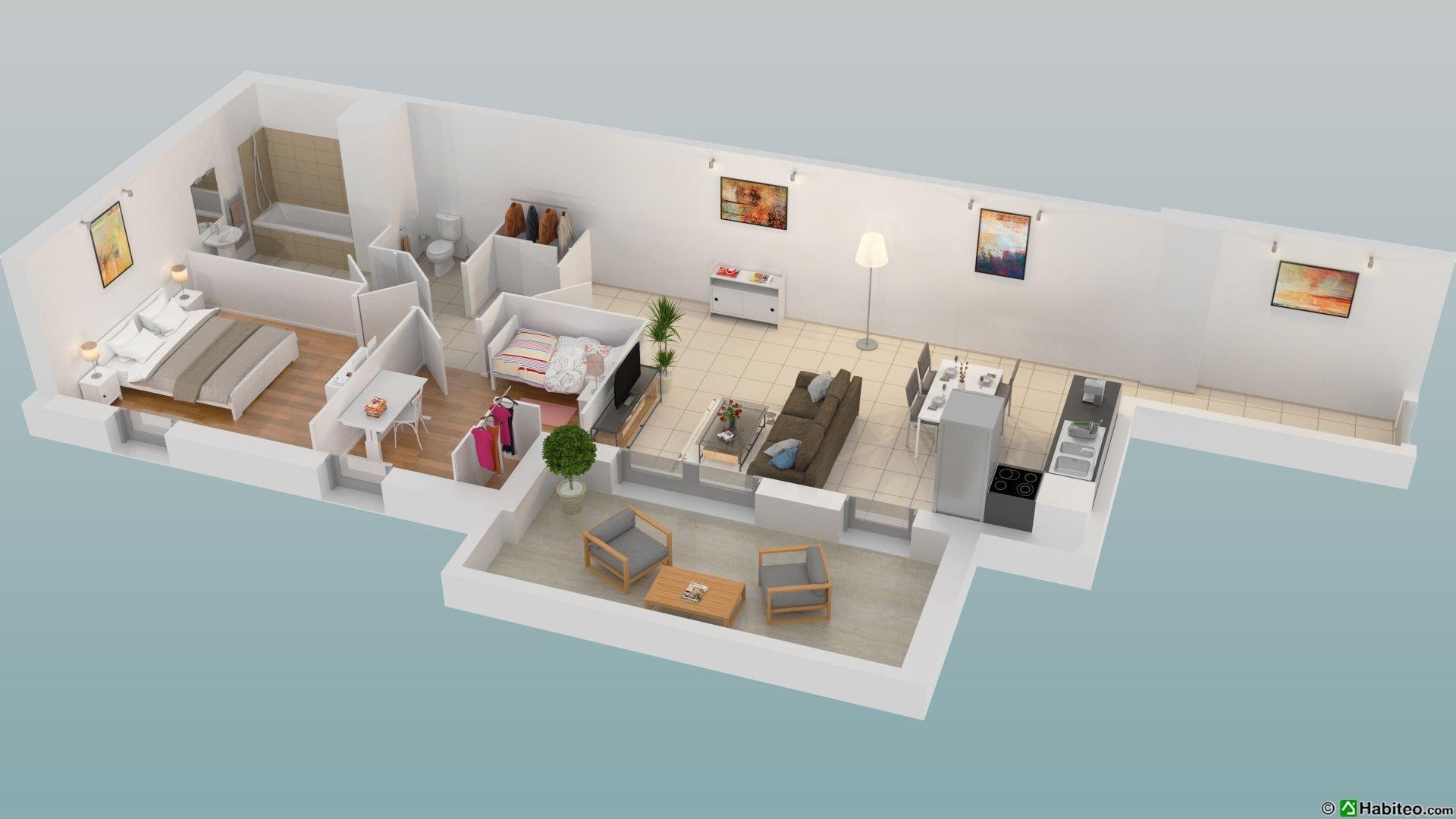 Plan 3D d'un appartement neuf de la résidence Majorelle  à Epinay-sur-Seine (93)
