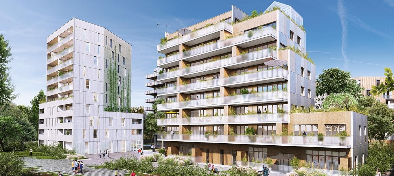 Perspective extérieure du programme L'ilôt Pépinière situé à Lille