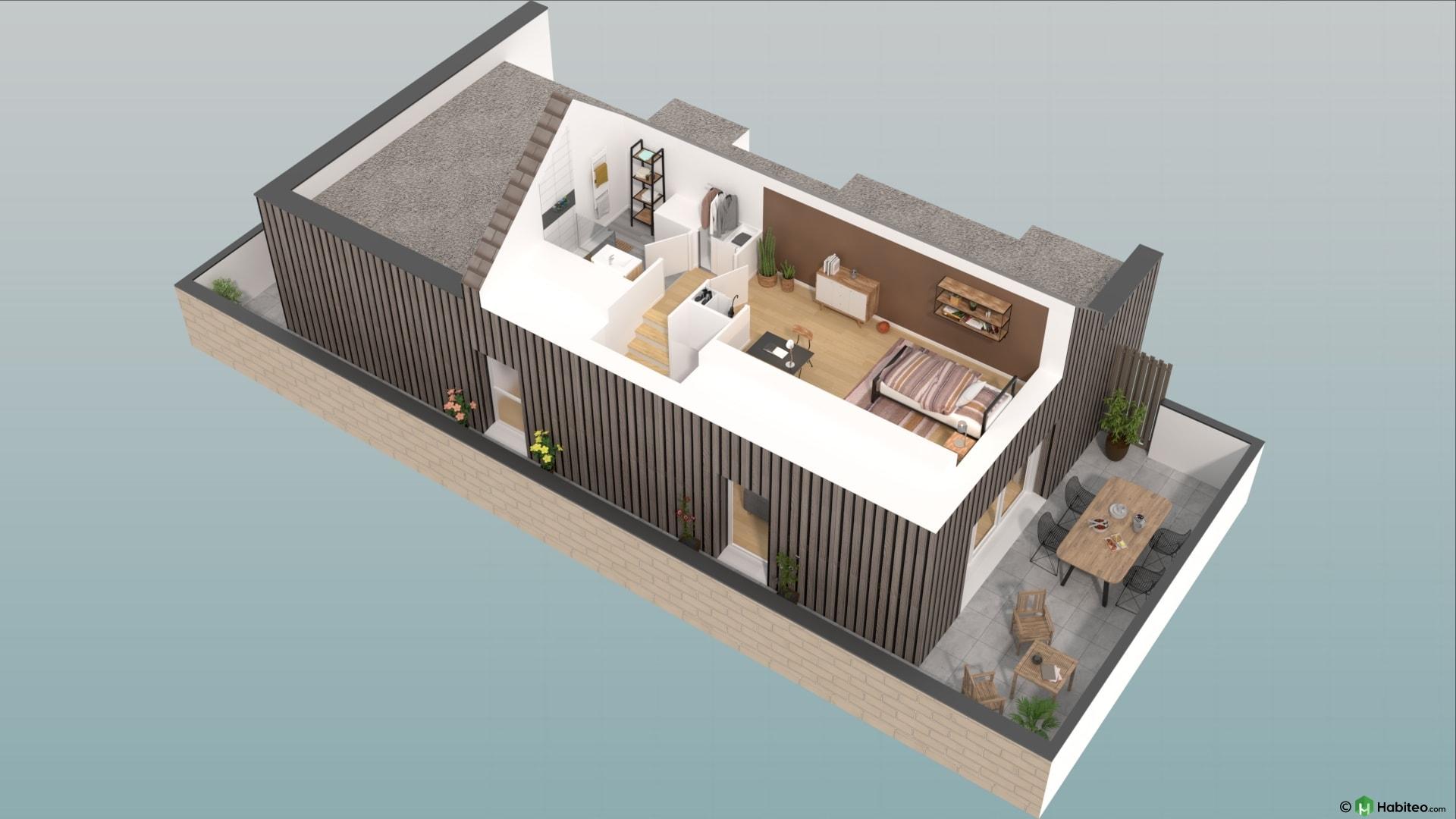 Plan 3d de létage dun appartement 4 pièces duplex du programme les