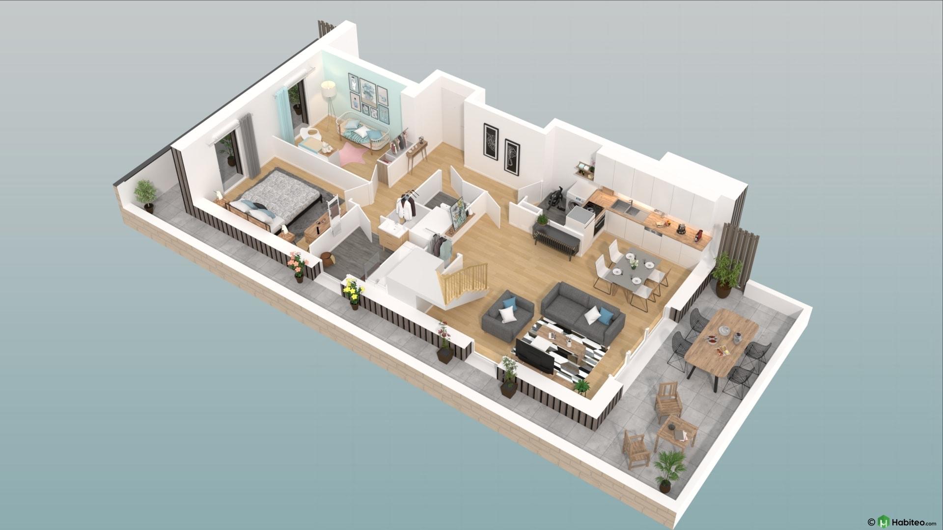 Plan 3d du rez de chaussée dun appartement 4 pièces duplex du