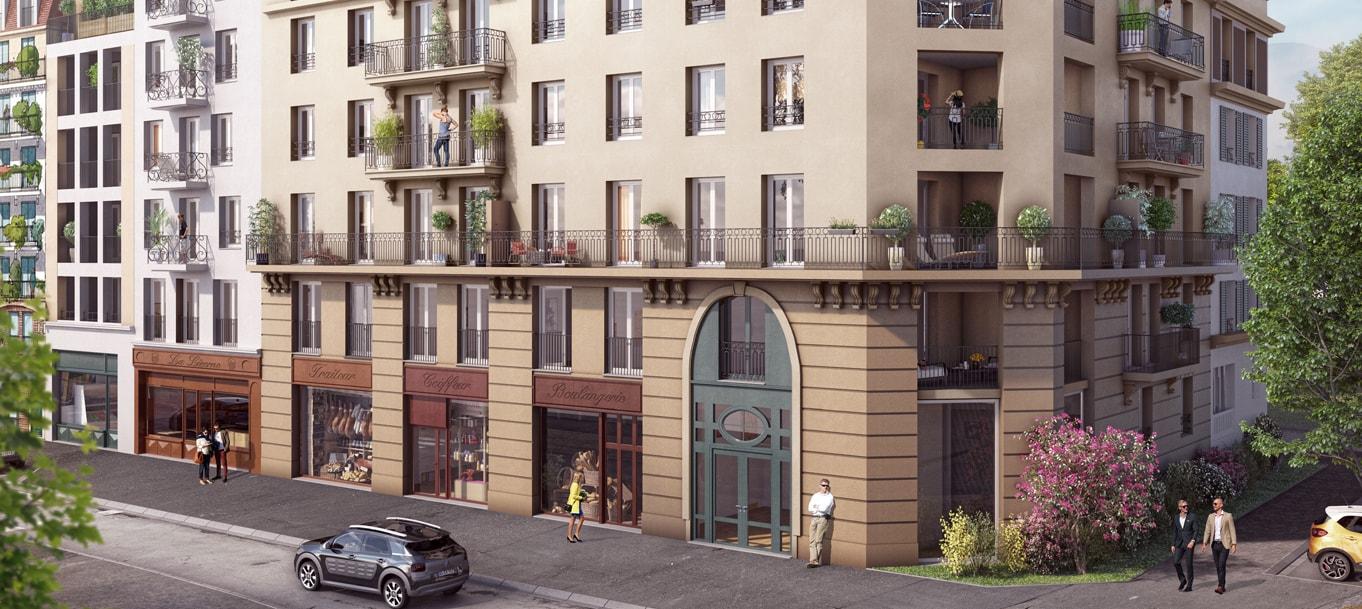 Perspective extérieure de la résidence Grande Avenue situé à Le Blanc-Mesnil