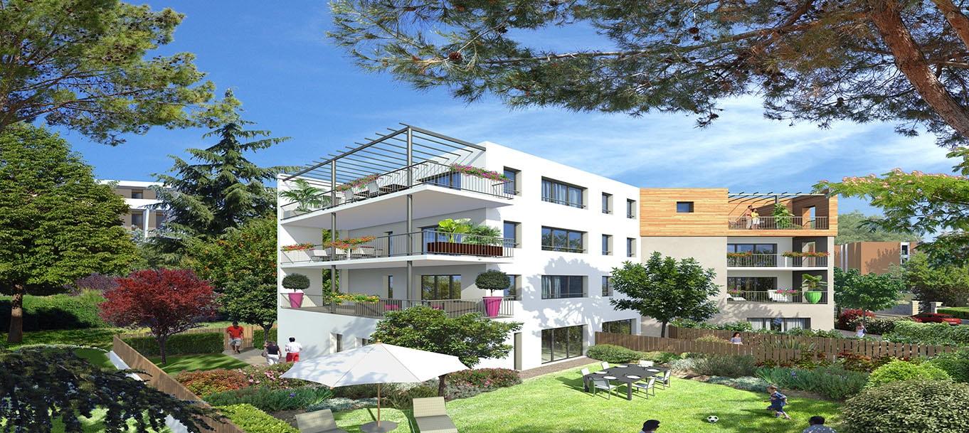 Perspective extérieure de la résidence, Les Parc des Tourelles située à Montpellier