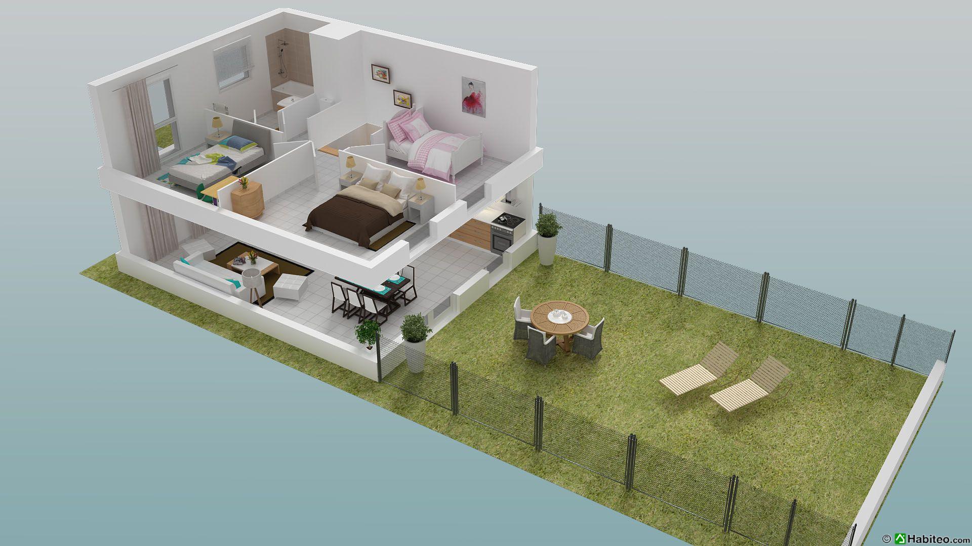 Plan 3d d 39 une maison en etage maison moderne for Creer plan maison 3d