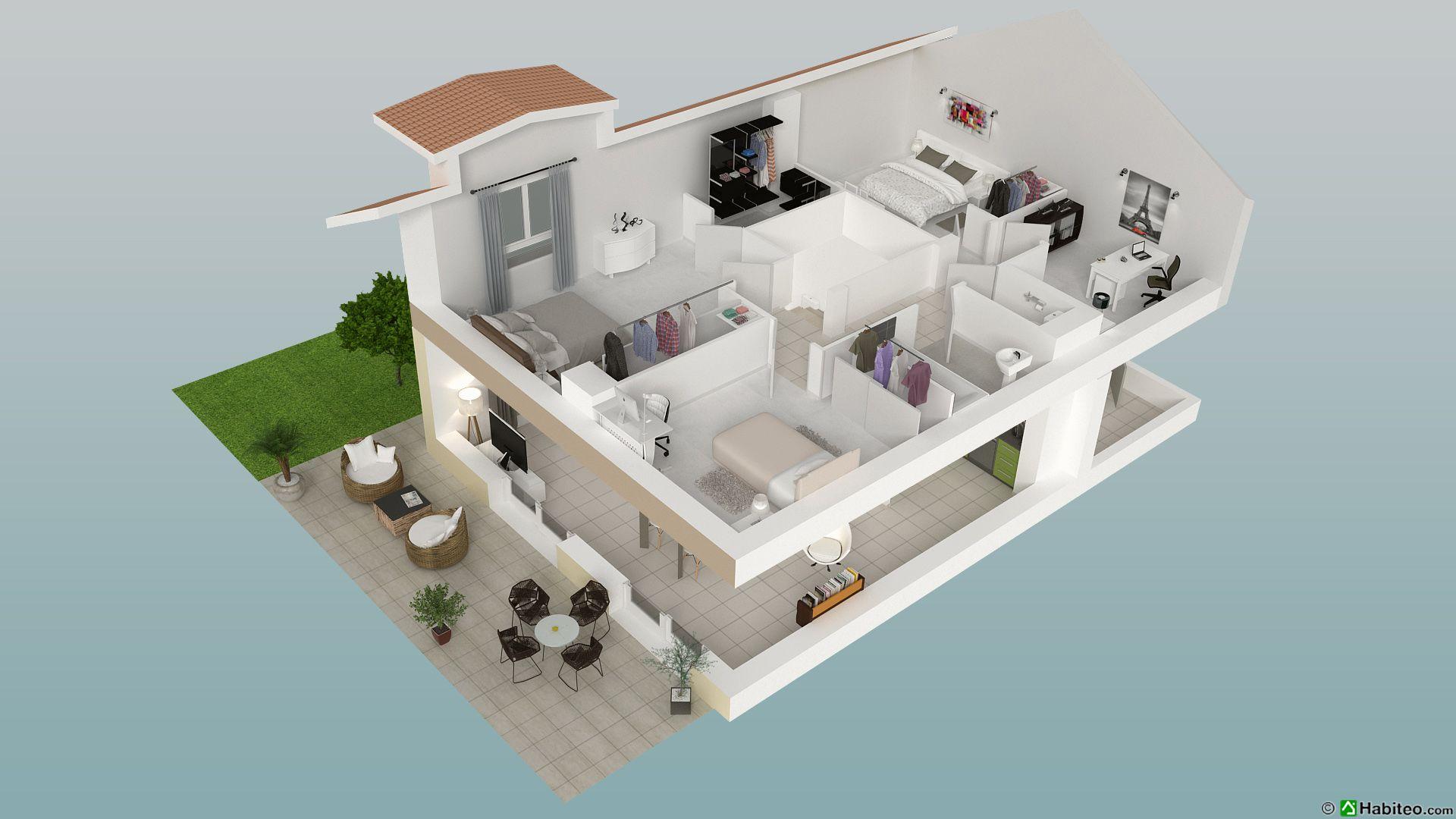 plan 3d chambre top plan chambre parentale avec salle de. Black Bedroom Furniture Sets. Home Design Ideas