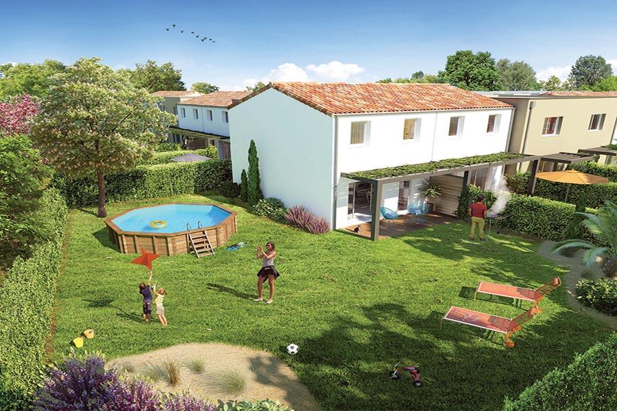 Vue générale sur la résidence Les Jardins de Pira située à Manosque