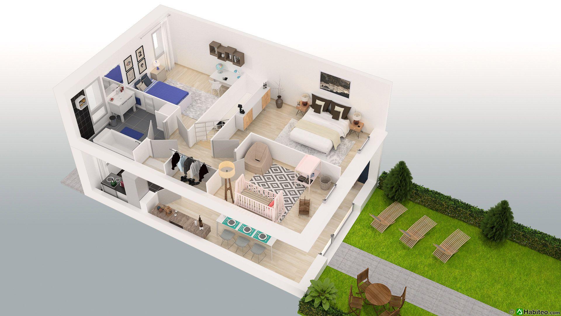 Plan 3d de létage dun appartement de la résidence la potennerie située