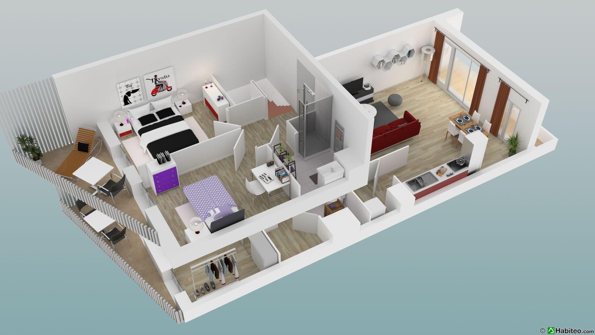 Appartement 4 Chambre à L'etage En 3D 01