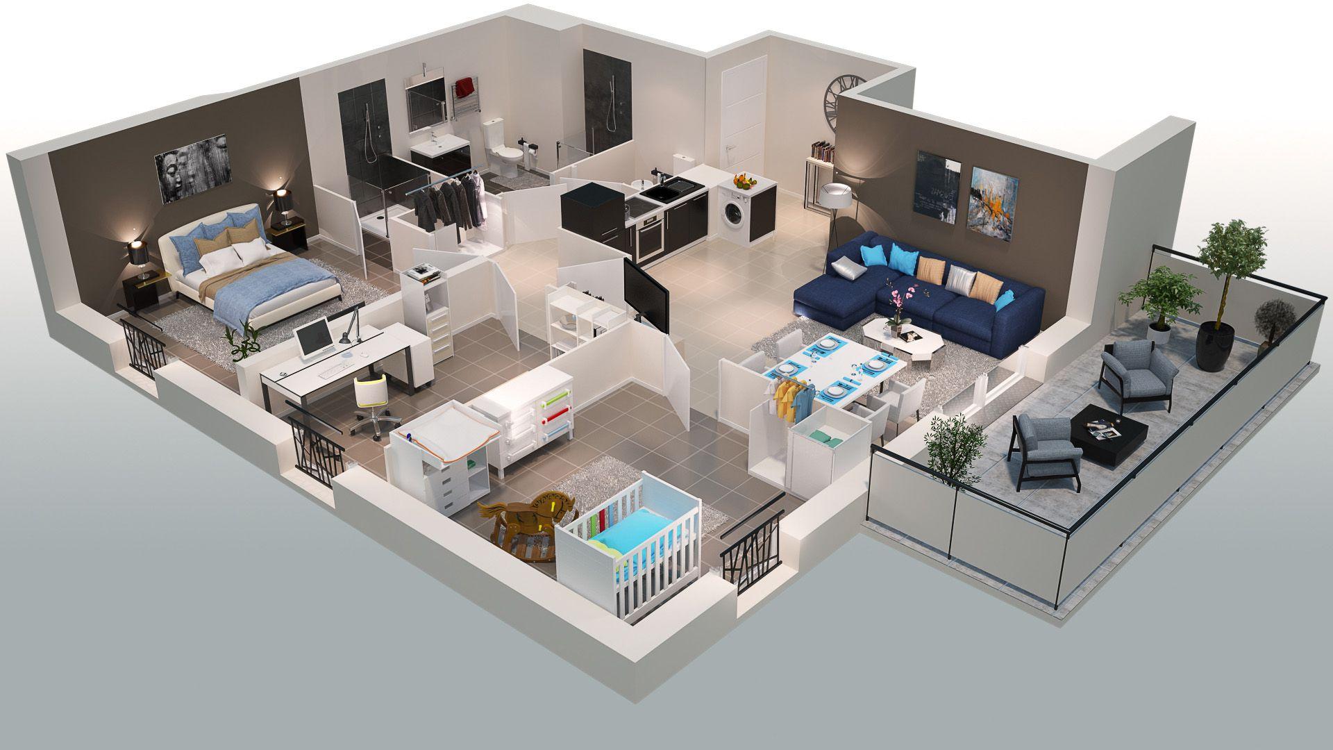 Best plan d duun appartement pices du programme de la rsidence des chemins with plan 3d appartement