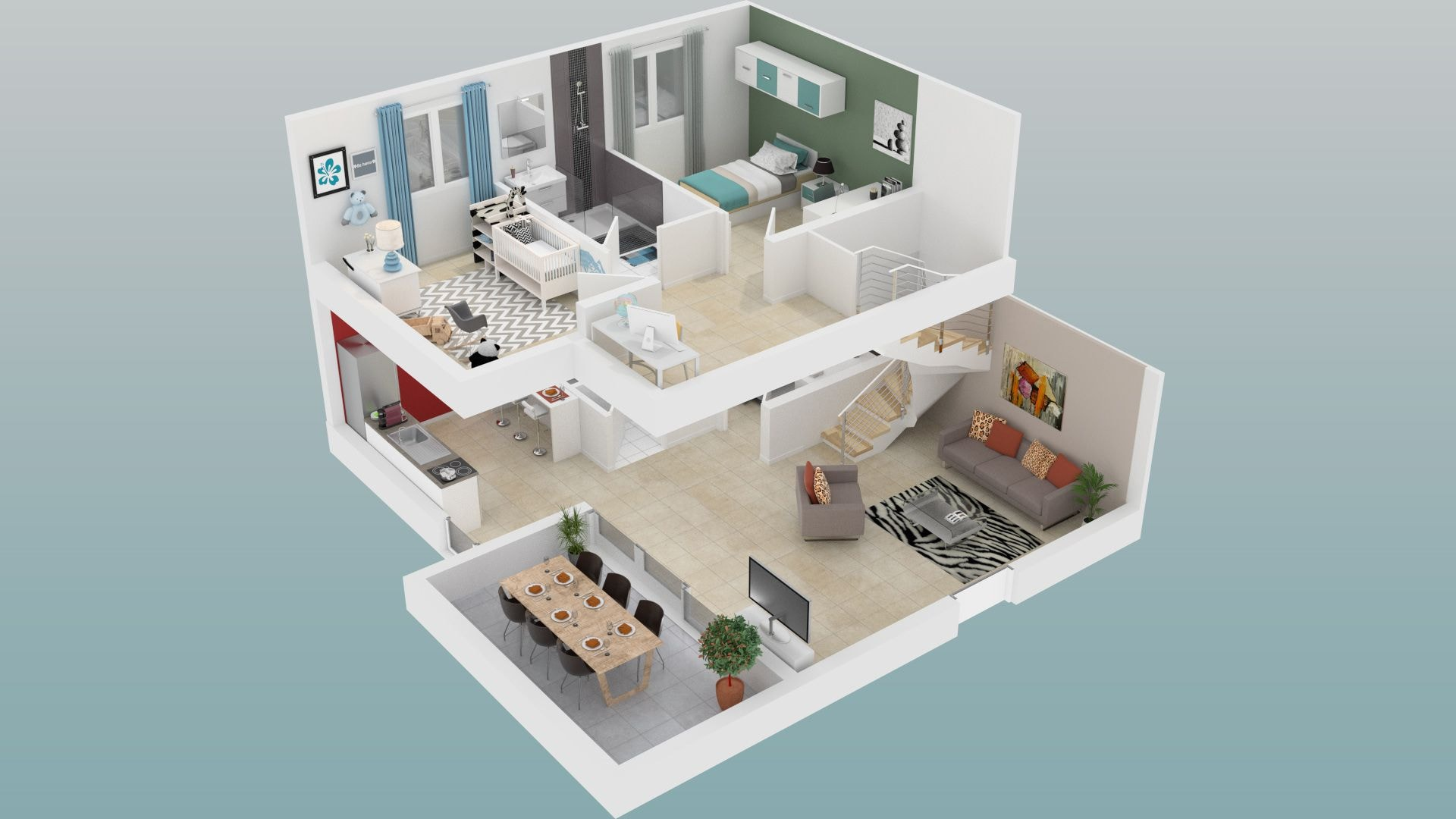 plan appartement duplex 3d