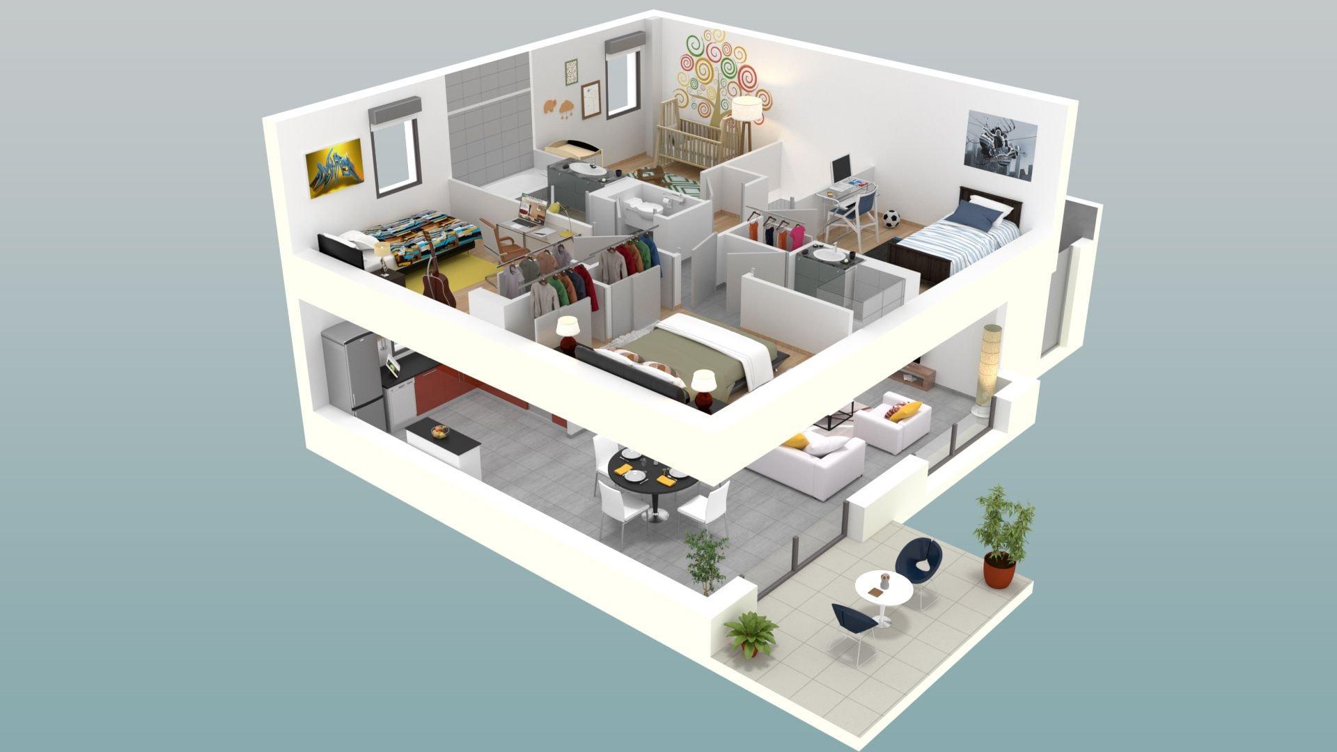 Plan 3d chambre fabulous chambre avec salle de bain et for Plan 3d chambre
