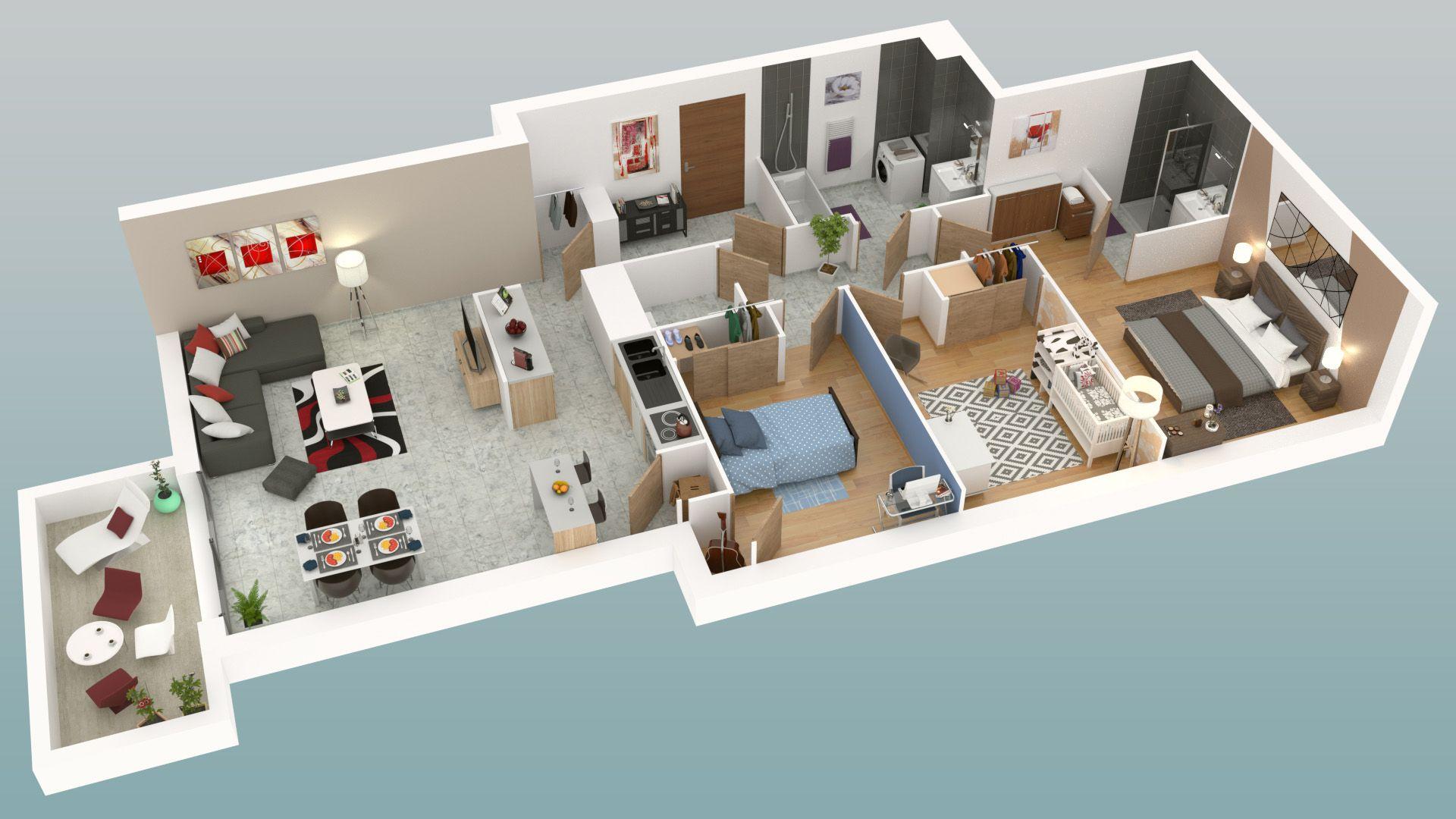 Plan 3d dun appartement 4 pièces de la résidence le clos de la saffreniere