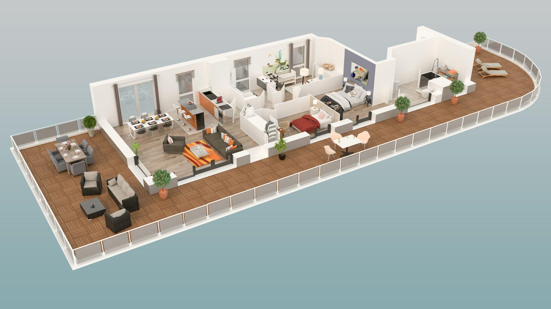 Plan 3d dun appartement 4 pièces de la résidence grand angle située à asnières