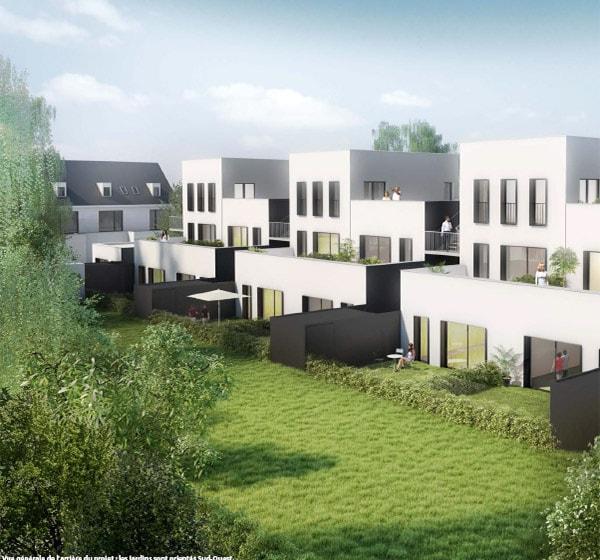 Vue générale de la résidence Les Jardins du Moulin situé à Wavrin au Nord Pas de Calais