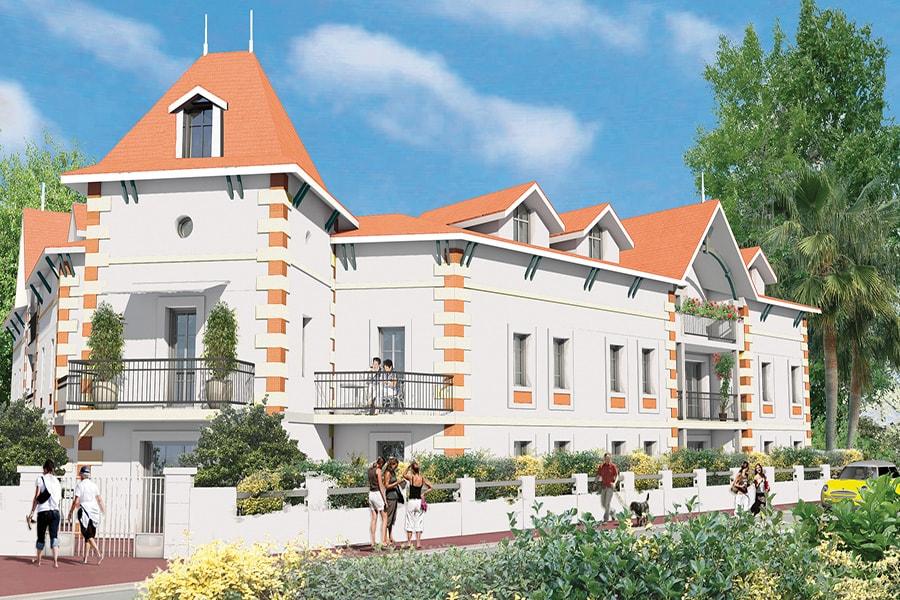Vue générale de la perspective extérieure du programme de la résidence Les terrasses Saint Elme à Arcachon située en Aquitaine