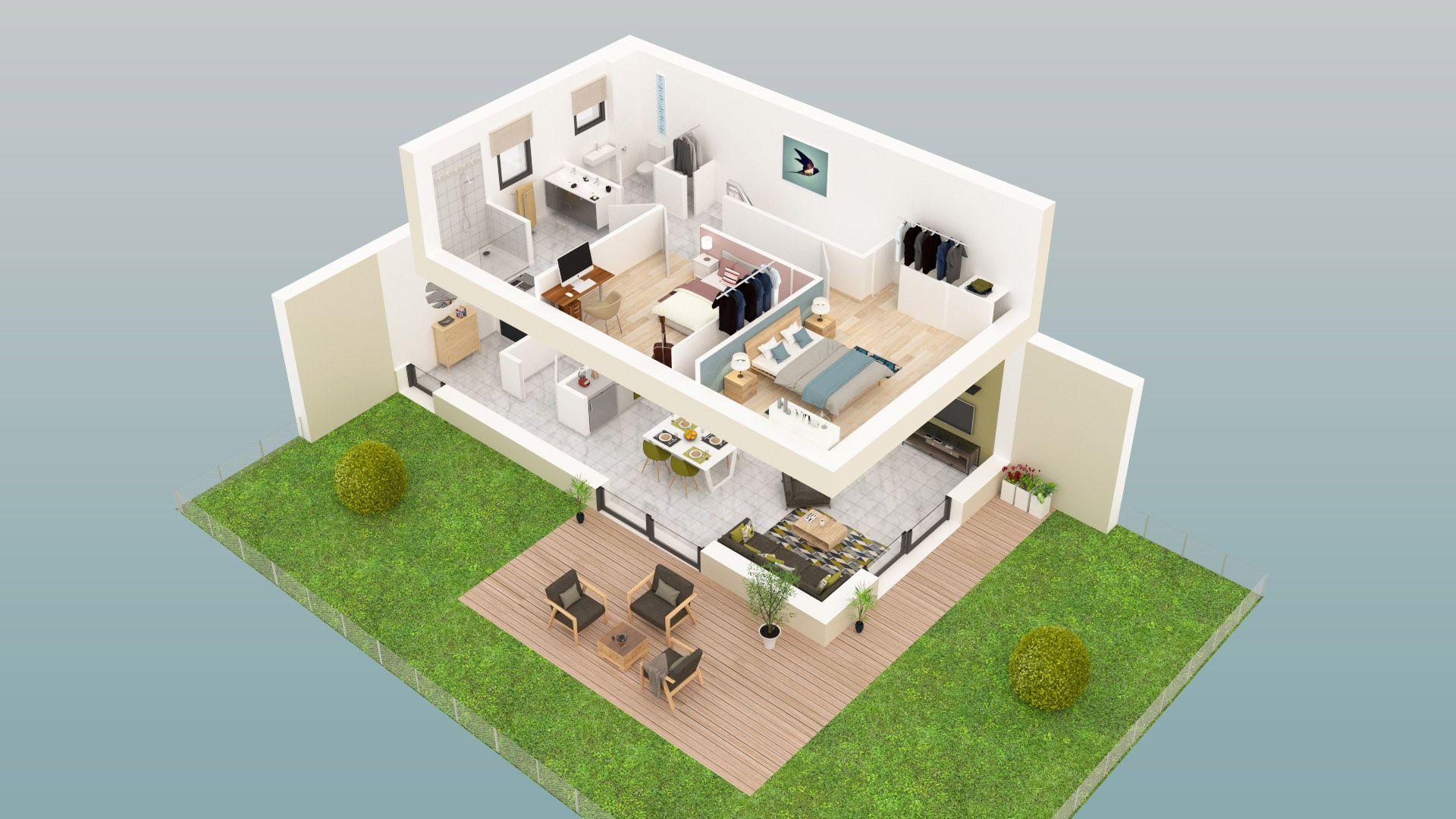 Plan 3d de létage dune maison de la résidence la prima situé
