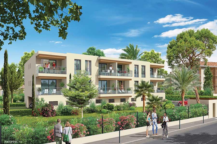 Vue générale de la résidence Les bougainvilliers situé à Hyères en Provence Alpes côte d'Azur