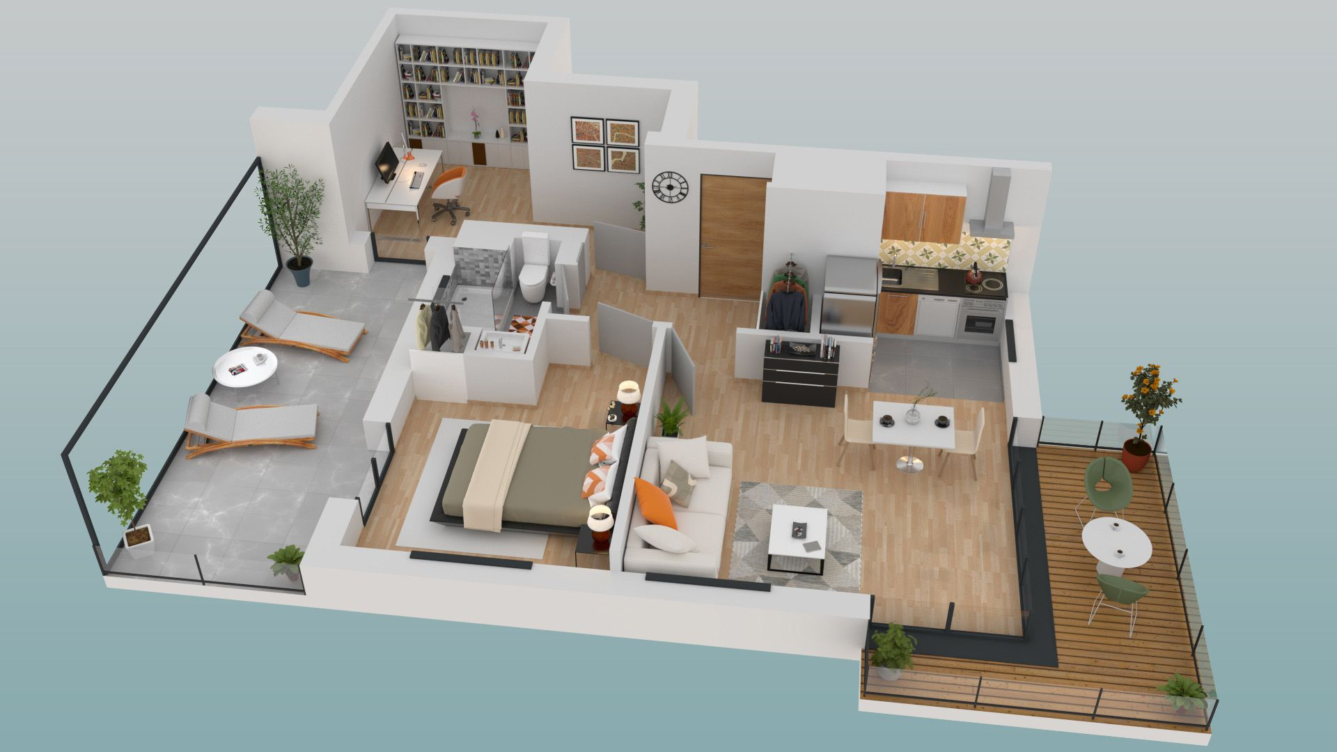 Plan 3d dun appartement 3 pièces du programme de la résidence le 3 mats