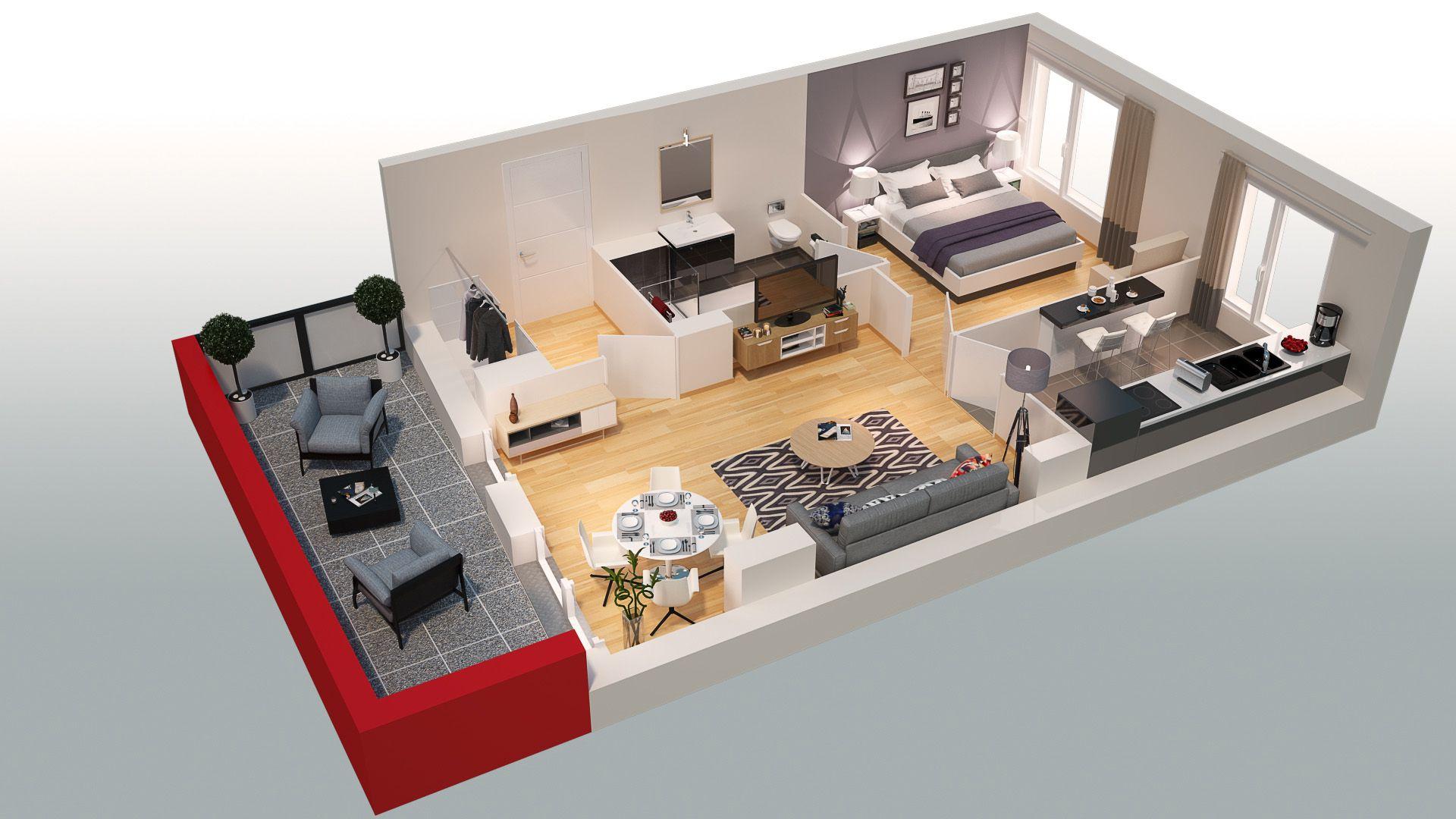 plan appartement en 3d