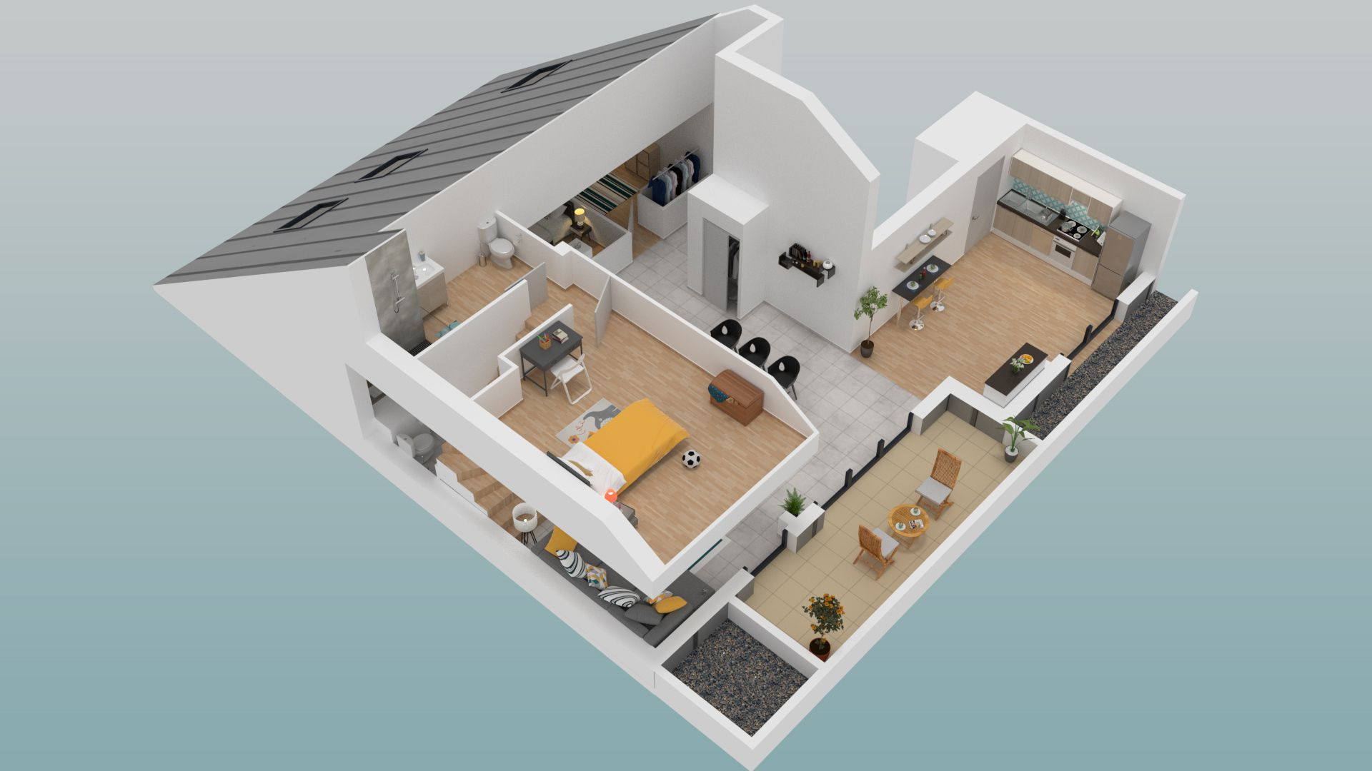 Plan 3d de létage dun appartement duplex 4 pièces de la résidence