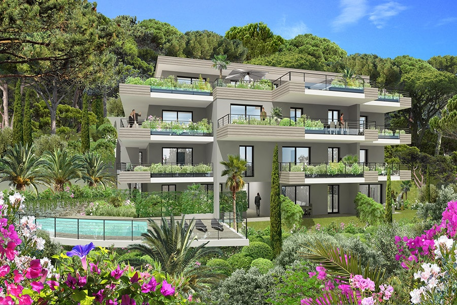 Vue générale de la résidence Blue Horizon à Roquebrune-Cap-Martin situé en Provence-Alpes-Côte d'azur