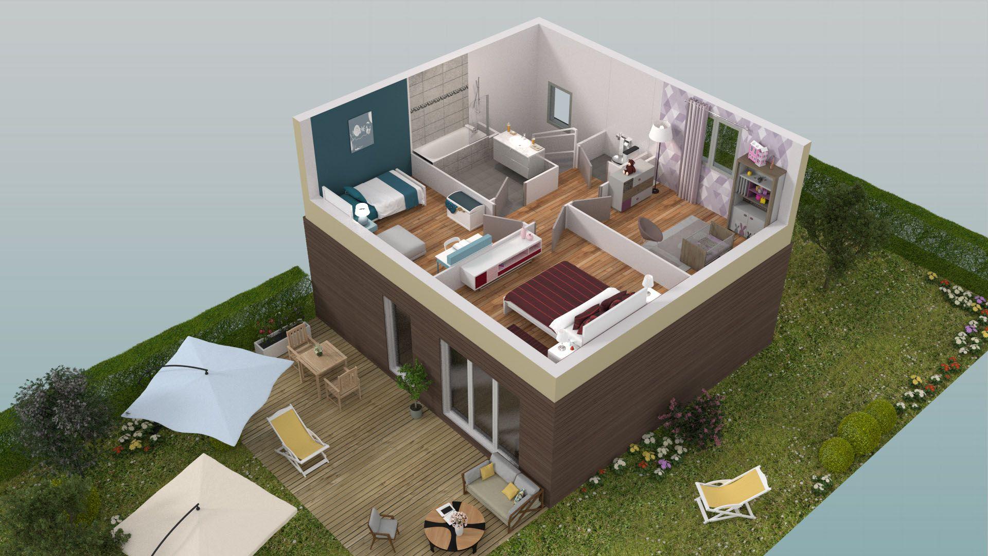 Villa basse avec plan for Plan villa basse moderne