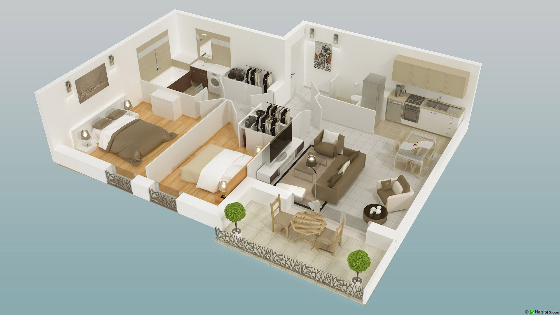 Plan 3d dun appartement trois pièces de la résidence villa saint james à