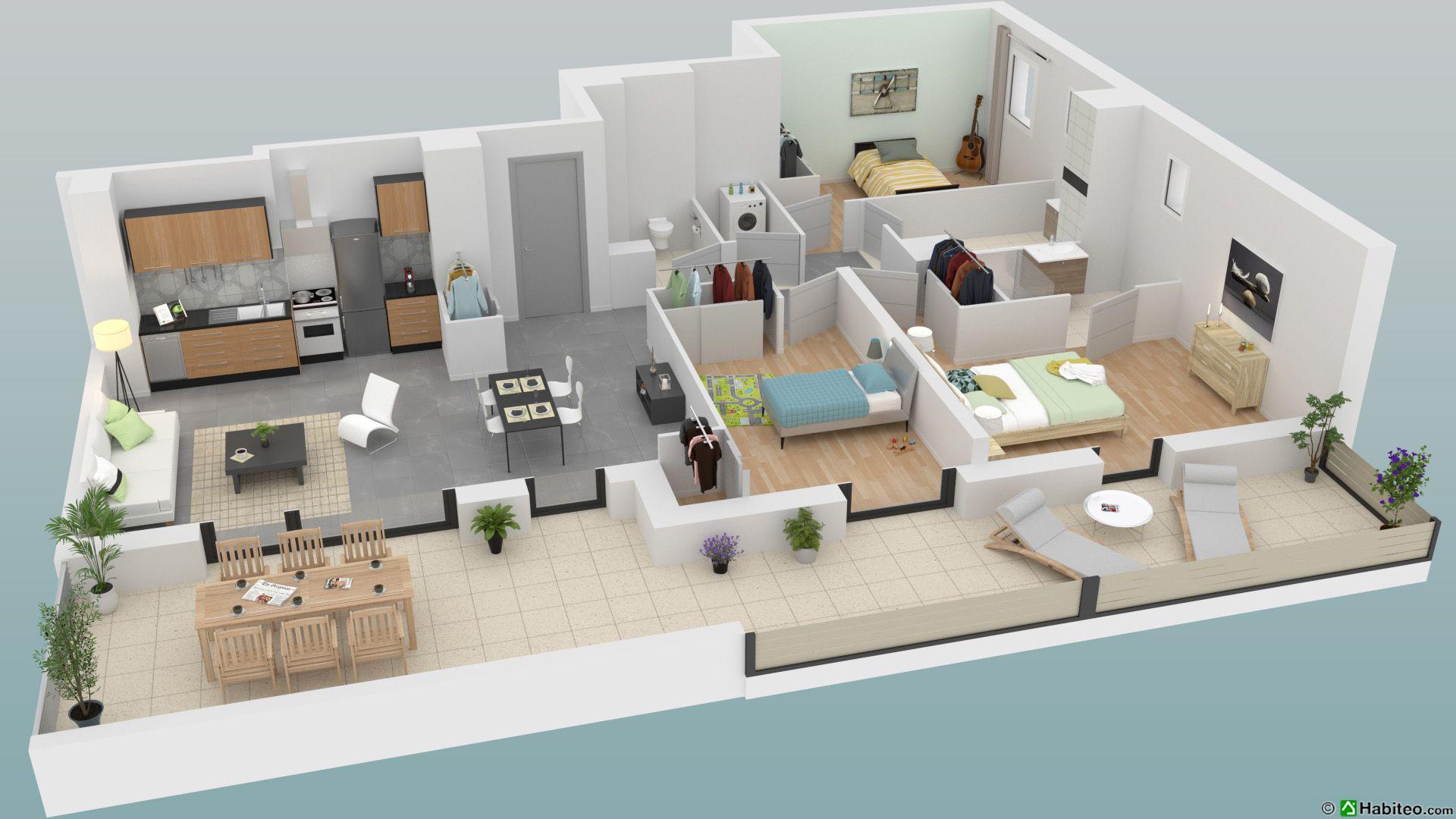 plan 3d dun appartement 4 pices du programme de la rsidence lalbane