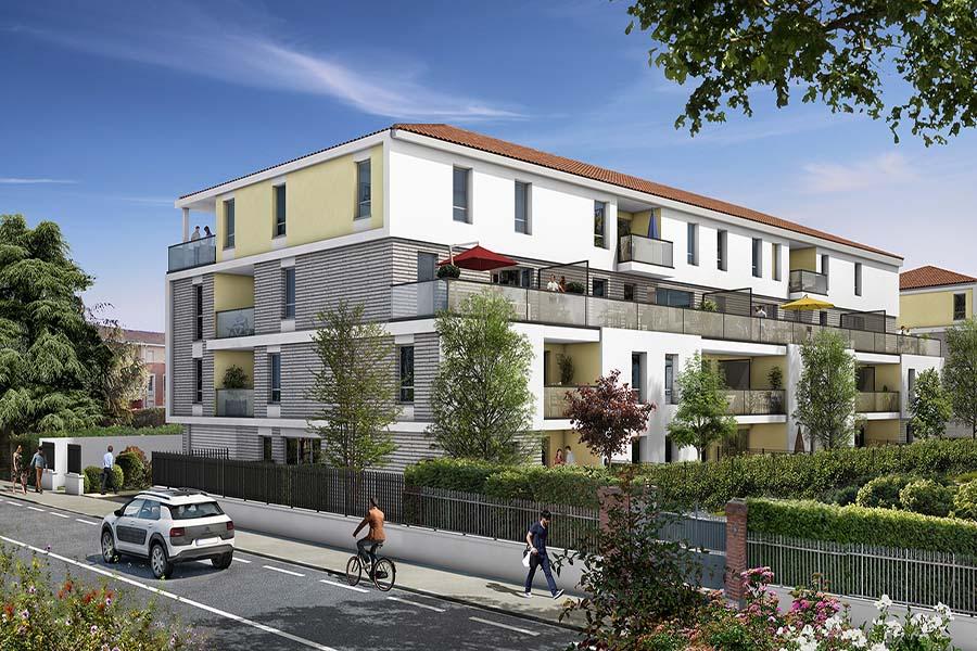 Vue générale de la résidence Les Jardins de Launac situé à Toulouse dans les Midi-Pyrénées