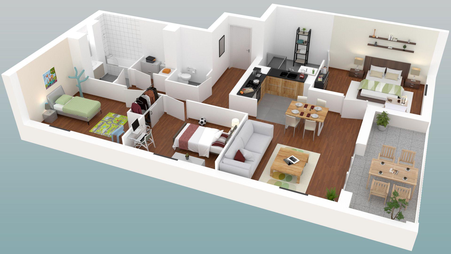 Plan d appartement en 3d excellent inclus with plan d for Appartement en 3d