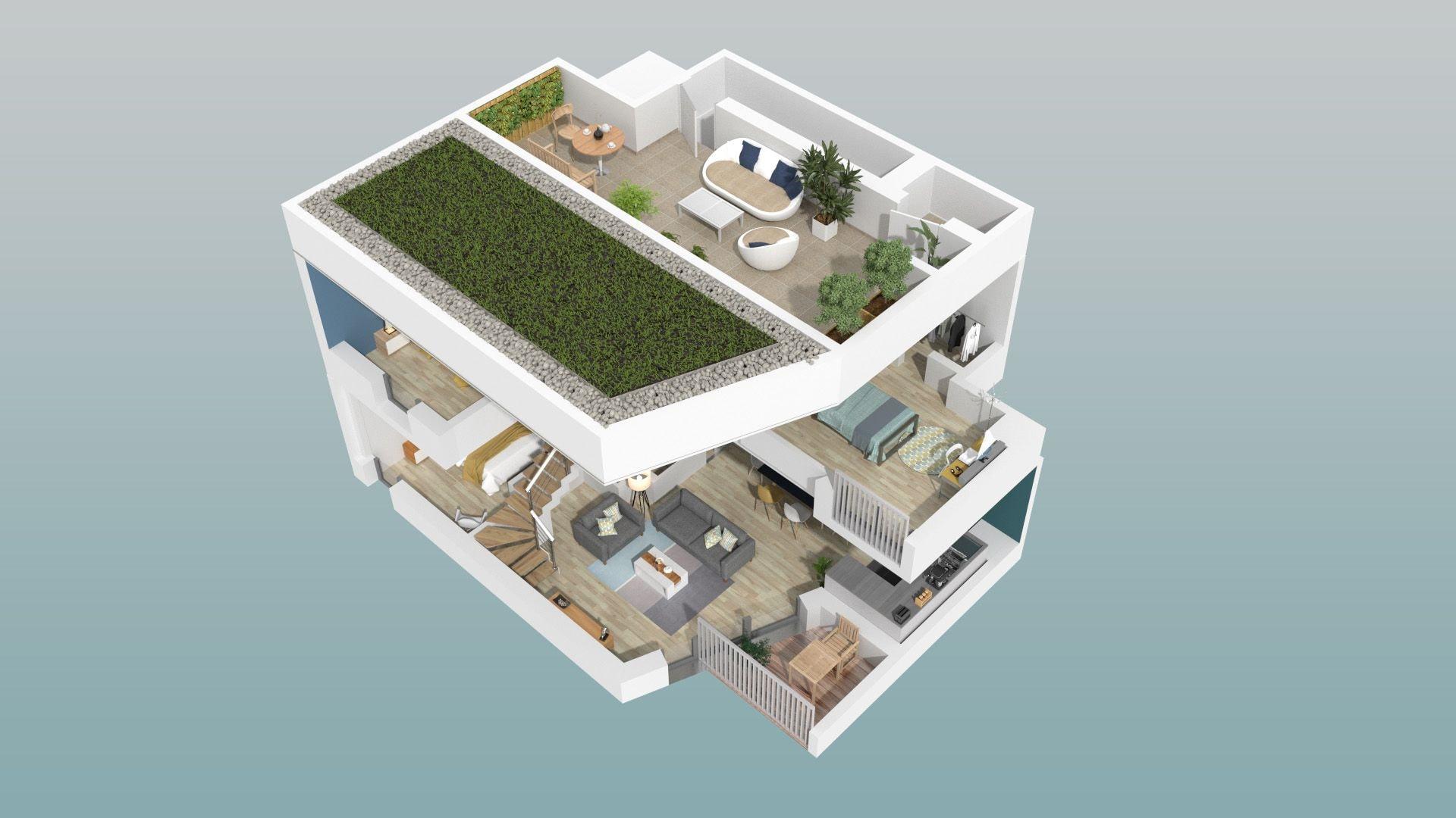Plan 3d terasse dun appartement 4 pièces duplex du programme de la résidence absolu