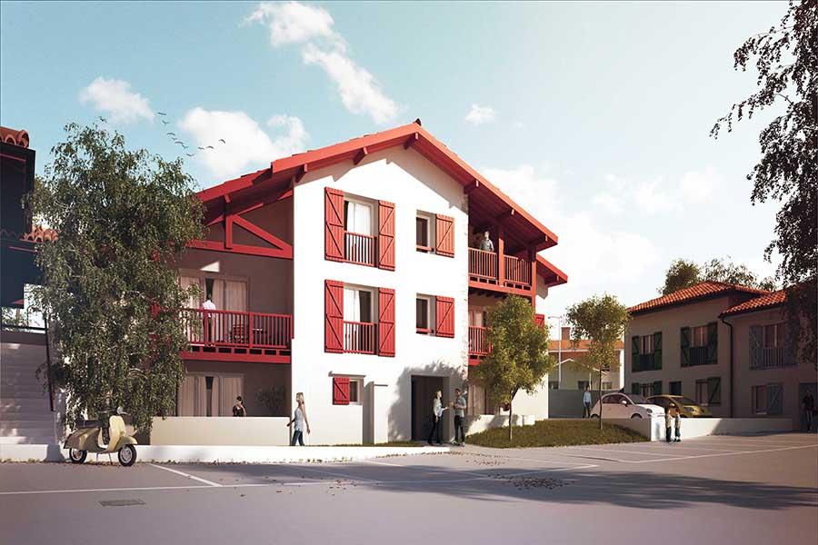 Vue générale de la résidence Bordagain Bizia  situé à Ciboure en Aquitaine