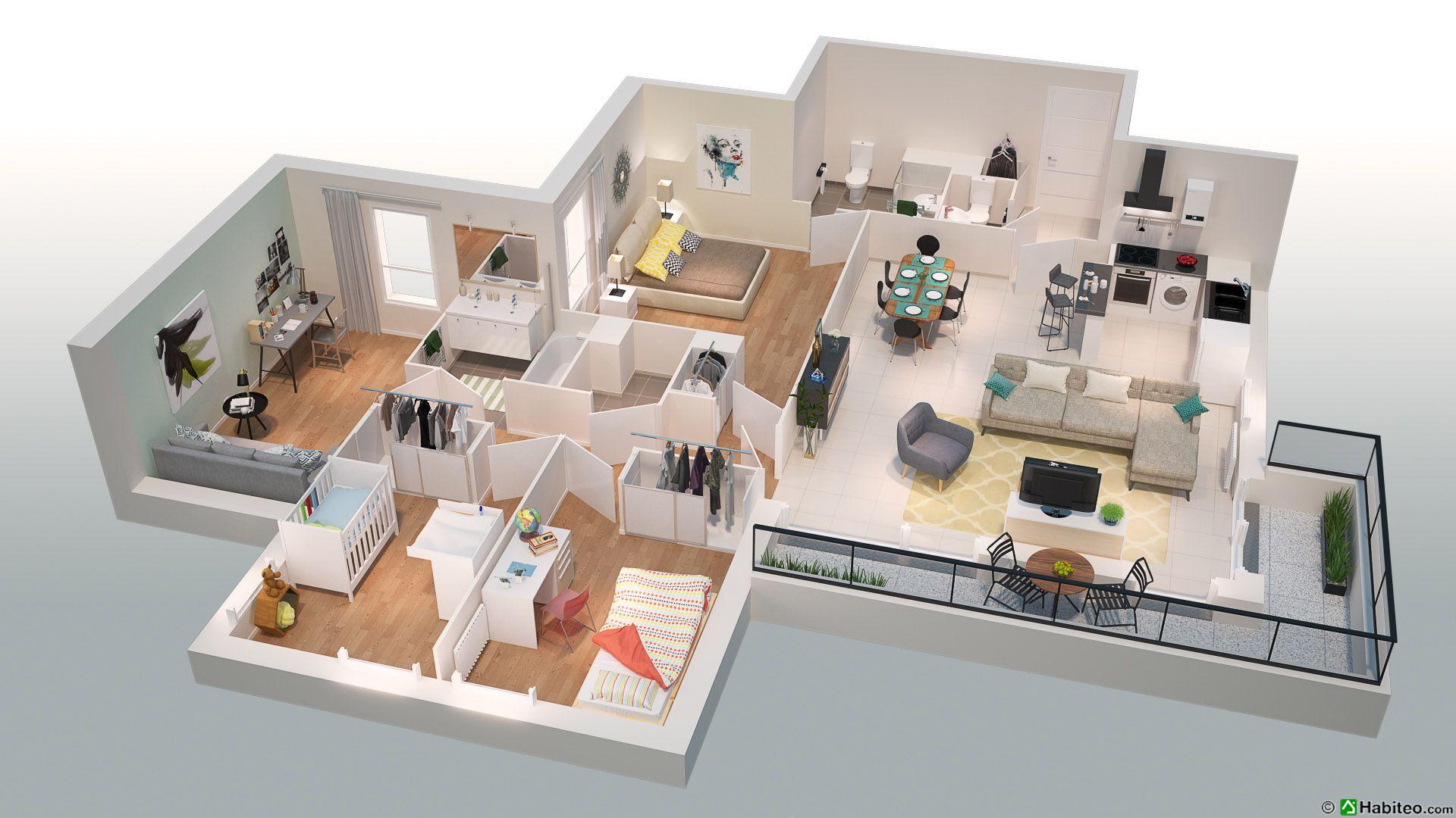 Plan 3d dun t5 du programme de la résidence les villas du fort situé