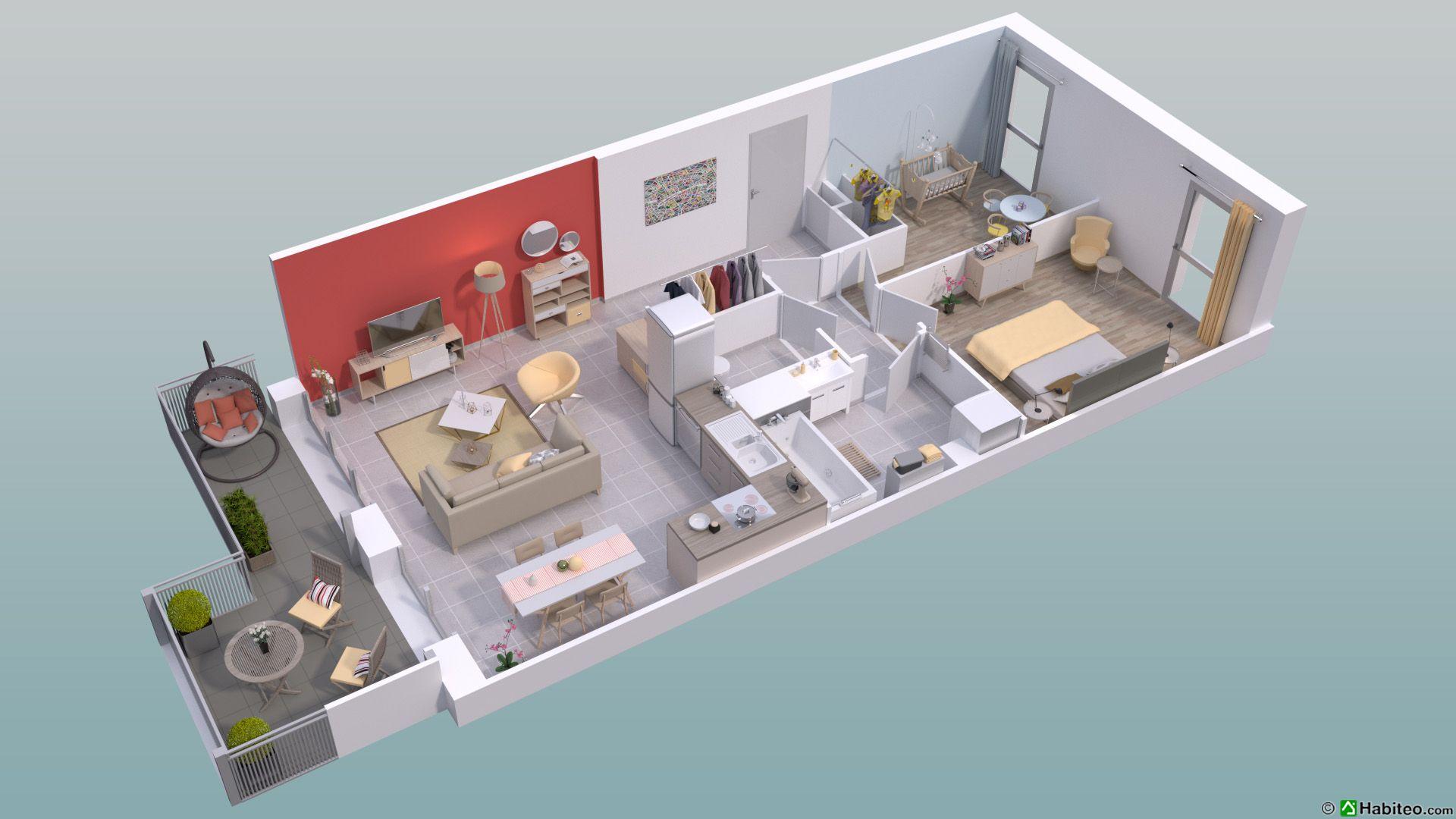 Plan 3D Du0027un 3 Pièces Du Programme De La Résidence Le Mikado Situé à