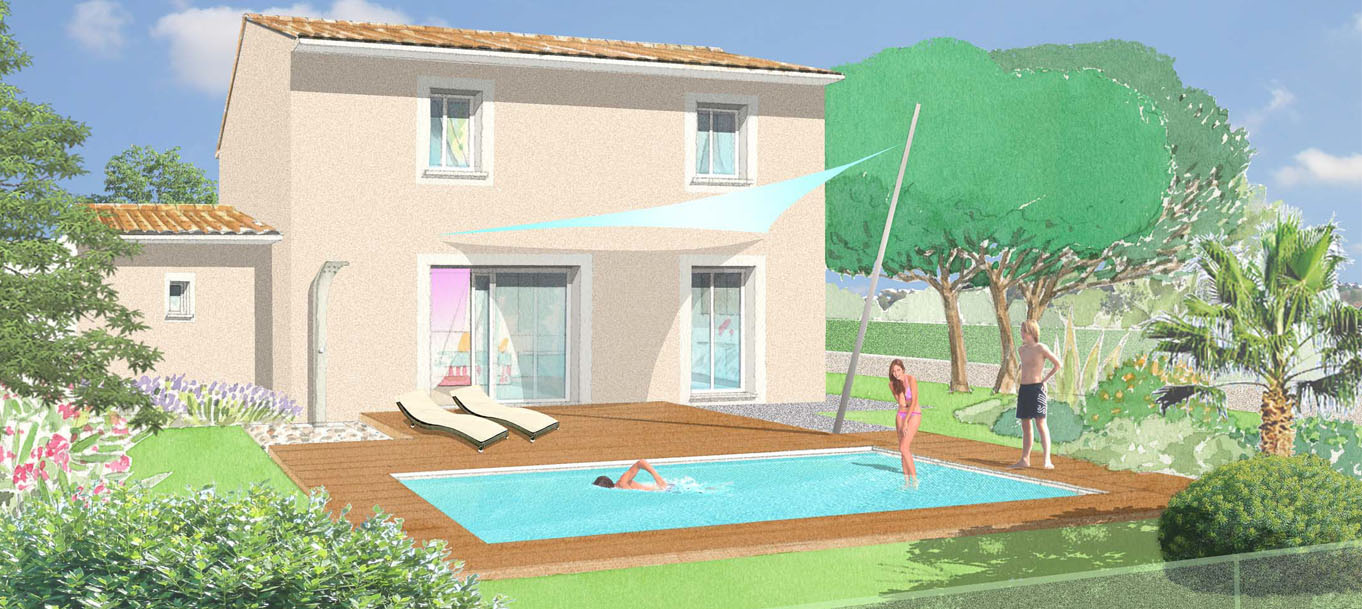 Perspective extérieur d'une maison du programme Les Hauts du Bresquet situé à Saint-Nazaire