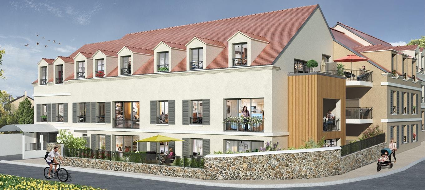 Perspective extérieur du programme Clos Saint-Louis situé à Jouars-Pontchartrain