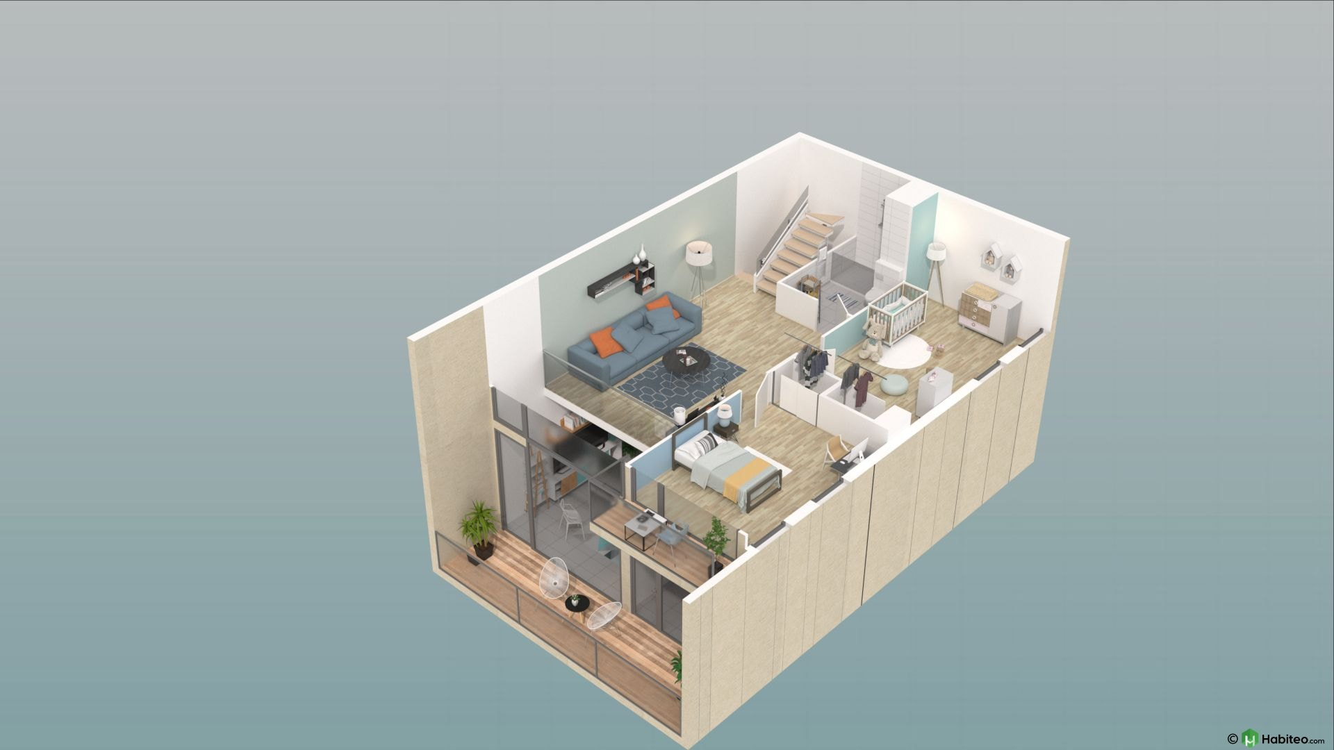 Plan 3d de létage dun appartement triplex de 4 pièces de la