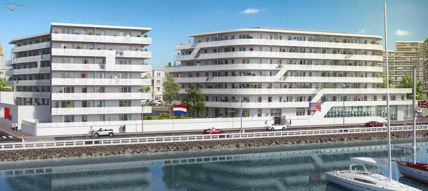 Perspective extérieur du programme White Pearl situé au Havre