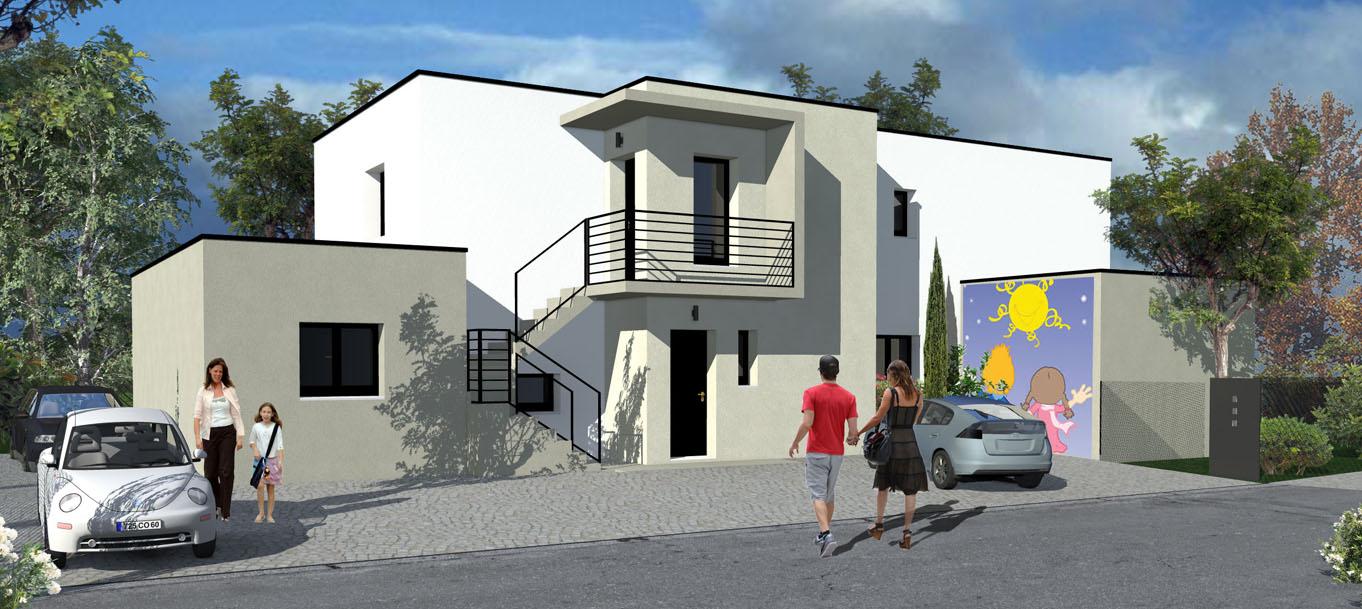 Perspective extérieur du programme La maison des Parents situé à Juvignac