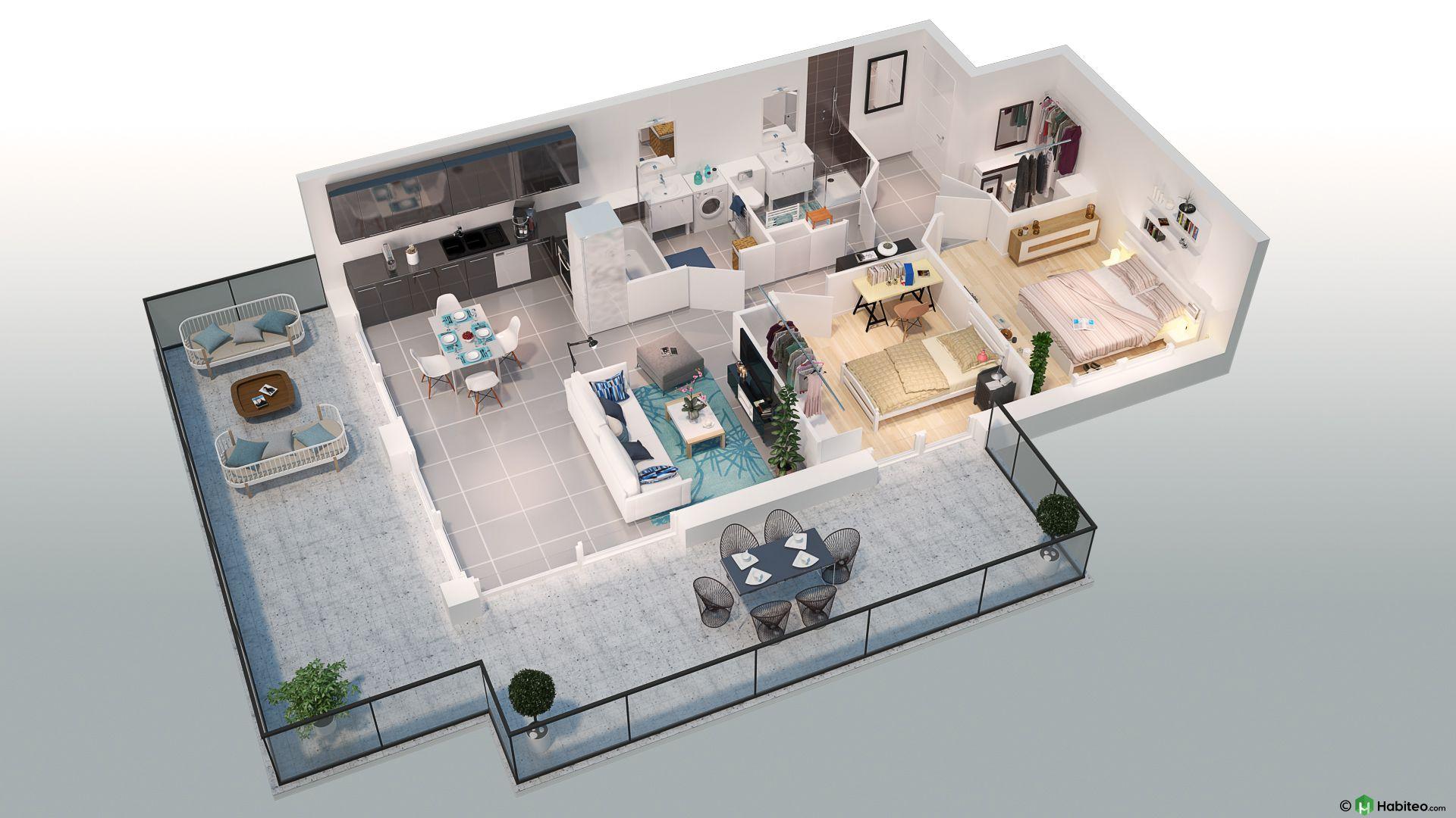 Plan 3d dun appartement 3 pièces du programme pleinr